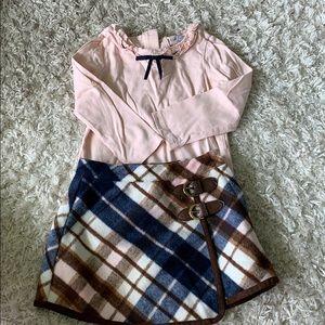 Pink shirt & plaid skirt! Worn once! Janie & jack